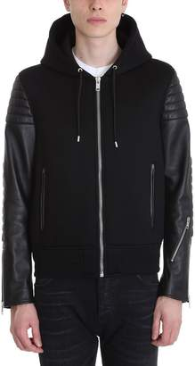 Givenchy Neoprene And Leather Zipped Hoodie