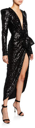 Elie Saab Sequined Plunging Strong-Shoulder Gown