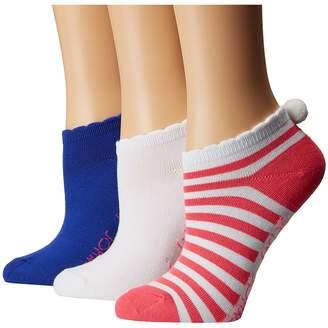 Betsey Johnson 3-Pack Super Soft Low Cuts - Stripe Pom Pom Women's Low Cut Socks Shoes
