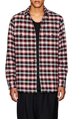 Marcelo Burlon County of Milan Men's Pit-Bull-Graphic Plaid Cotton Oversized Shirt