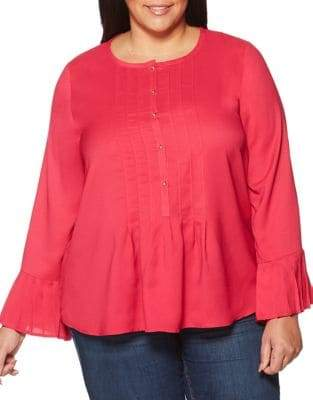 Rafaella Plus Long-Sleeve Pleated Blouse