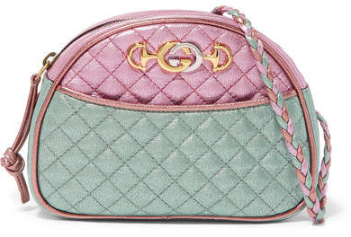 Gucci - Quilted Color-block Metallic Leather Shoulder Bag - Pink