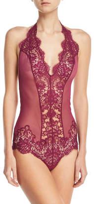 I.D. Sarrieri Colette Lace-Inset Halter Bodysuit