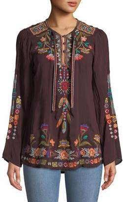 Johnny Was Free Spirit Embroidered Georgette Blouse, Petite