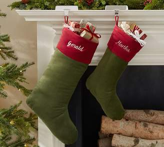 Pottery Barn Basic Velvet Stockings - Green with Red Cuff
