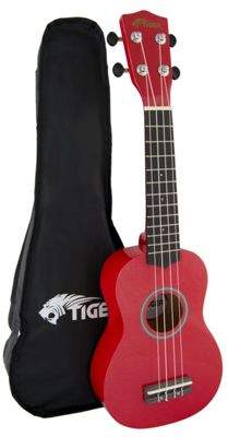 Soprano Tiger Ukulele For Beginners In Red With Bag Full size