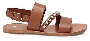 Miu Miu Women's Leather Jewel Strap Sandals