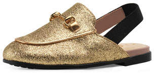Gucci Princetown Glittered Horsebit Mule Slide, Toddler