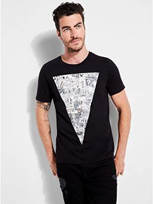 GUESS Men's Short Sleeve Basic Colong Lineage Tri Crew T-Shirt