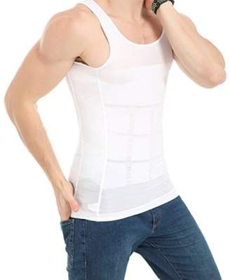 Homax New Men's Slimming Body Shaper Vest Abdomen Slim Shirt For Posture Correction (White-XXL)