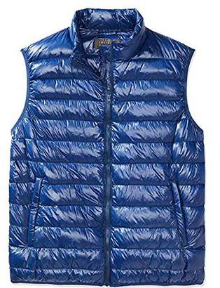 The Plus Project Men's Plus Size Quilted Down Vest Stand Collar 2X-Large Navy