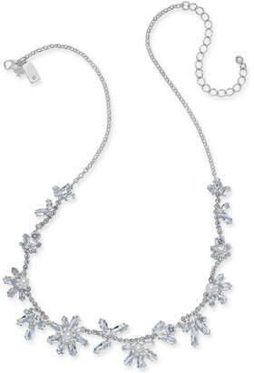 "Kate Spade Silver-Tone Crystal & Imitation Pearl Flower Collar Necklace, 17"" + 3"" extender"