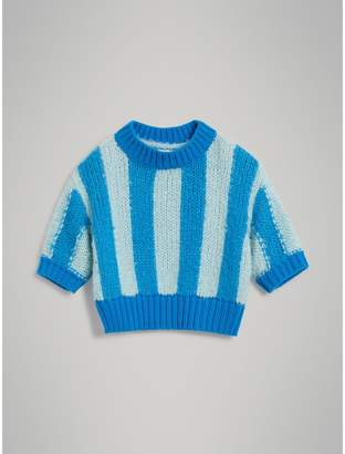 Burberry Short-sleeve Striped Silk Sweater