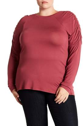 14th & Union Ruched Raglan Sleeve Tee (Plus Size)
