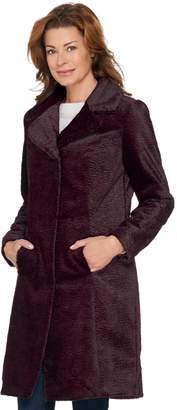 Isaac Mizrahi Live! Faux Fur Long Sleeve Snap Front Coat