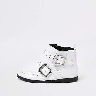 River Island Mini girls white stud buckle ankle boots