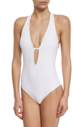 Jets Illuminate Plunge-Neck One-Piece Swimsuit