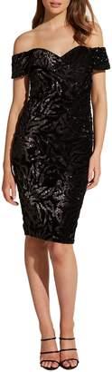 Bardot Sequin Velvet Sheath Dress