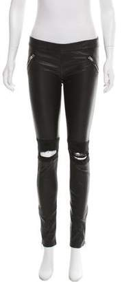 Thomas Wylde Mid-Rise Leather Leggings