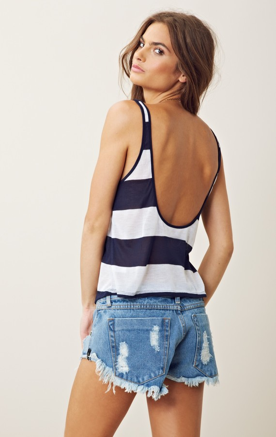 Blue Life CROPPED LOW BACK STRIPED TANK