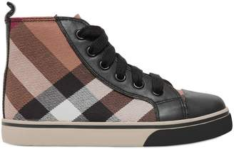 Burberry Check Cotton Canvas High Top Sneakers