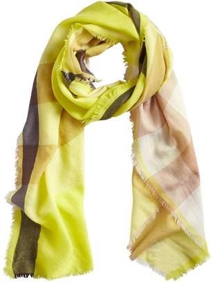 Embroidered Cashmere Fleece Scarf - Yellow & Orange Burberry r8h5uZIx