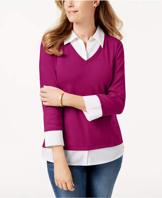 Karen Scott Petite Cotton Layered Knit Top