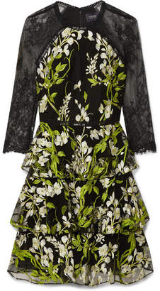 Marchesa Tiered Embroidered Tulle And Lace Mini Dress - Black