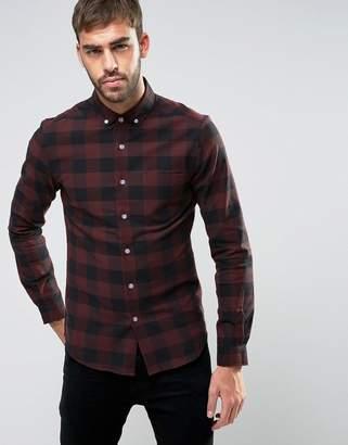 Asos Design Skinny Buffalo Check Shirt In Rust