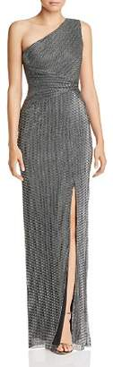 Adrianna Papell One-Shoulder Chainmail Gown