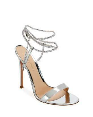 Gianvito Rossi Metallic Crystal Ankle-Wrap Sandals