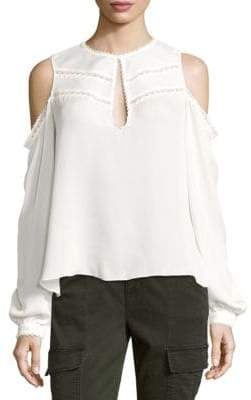 Haute Hippie Fiona Cold-Shoulder Silk Top