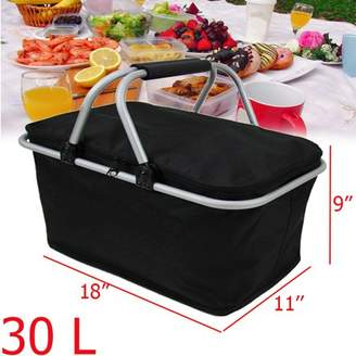 Xmund Large Size 30L Folding Picnic Bag, Waterproof Insulated Cooler Lunch Bag Outdoor Camping Zip Closure Basket with Carrying Handles