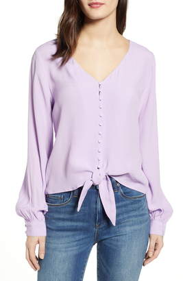 J.o.a. Long Sleeve Tie Front Top
