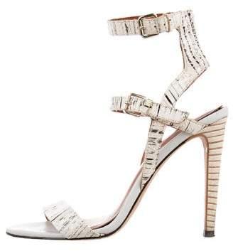 Rebecca Minkoff Embossed Ankle Strap Sandals