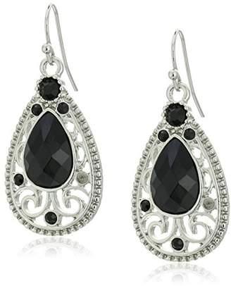 1928 Jewelry Silver-Tone Black Filigree Teardrop Earrings