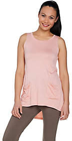LOGO by Lori Goldstein Solid Knit Tank withPockets & Pleat