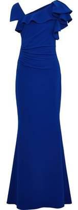 Badgley Mischka Asymmetric Ruffled Crepe Gown