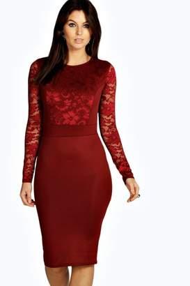 boohoo Lace Long Sleeve Bodycon Midi Dress