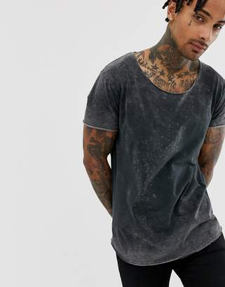 Asos DESIGN Relaxed Longline T-Shirt With Acid Wash And Curved Hem And Scoop Neck