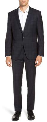 BOSS Huge/Genius Trim Fit Stretch Plaid Wool Suit