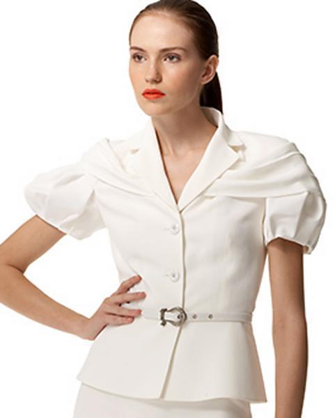 Dior Crepe Satin Puff-Sleeve Jacket