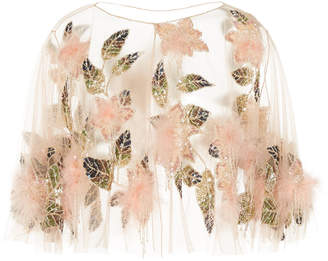 Marchesa Sequin Embroidered Tulle Capelet
