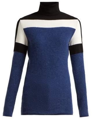 Fusalp - Colour Block Roll Neck Sweater - Womens - Blue Multi