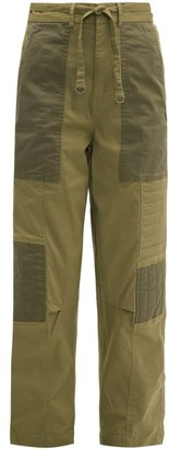 Sea Tula Quilted Cotton Blend Trousers - Womens - Beige