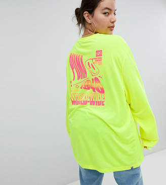 Puma Exclusive To ASOS Plus Long Sleeve T-Shirt With Techno Logo In Neon Yellow