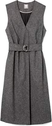 Vince Camuto Tweed Belted Long Vest
