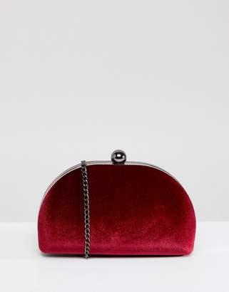 True Decadence Burgundy Velvet Half Moon Clutch Bag