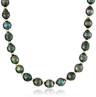 18k Yellow Gold Plated Silver 8-10mm Rondelle Baroque Tahitian Cultured Pearl Strand