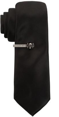 Apt. 9 Men's Solid Skinny Tie with Skull Tie Bar